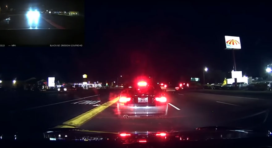 Tesla's automatic braking system - live action