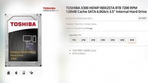 TOSHIBA X300 HDWF180XZSTA 8TB 7200 RPM hard disk