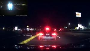 Tesla's automatic braking system - live action