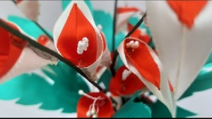 Embedded thumbnail for How to make Calla lily flowers using Satin ribbon along with flower vase - How to Video ?